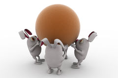3d rabbit team carry ball concept Royalty Free Stock Images
