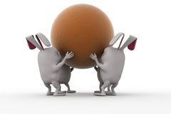 3d rabbit team carry ball concept Royalty Free Stock Image