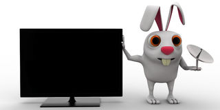 3d rabbit with television and tv antenna concept Stock Photo