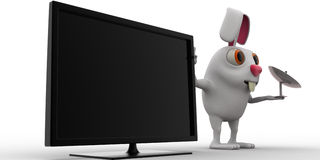 3d rabbit with television and tv antenna concept Stock Images