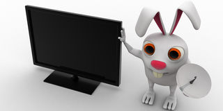 3d rabbit with television and tv antenna concept Stock Photography