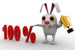 3d rabbit with 100% text and award golden cup concept Stock Photo