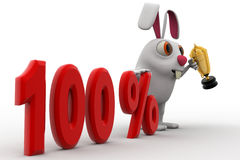 3d rabbit with 100% text and award golden cup concept Stock Photography