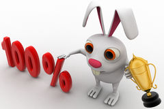 3d rabbit with 100% text and award golden cup concept Stock Photos