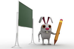 3d rabbit with text board and pencil concept Royalty Free Stock Images