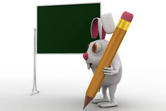 3d rabbit with text board and pencil concept Stock Photos