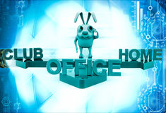 3d rabbit on three path of club, home and office illustration Royalty Free Stock Photography