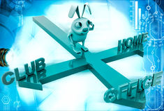 3d rabbit on three path of club, home and office illustration Stock Photo