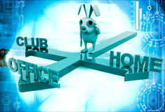 3d rabbit on three path of club, home and office illustration Royalty Free Stock Photos