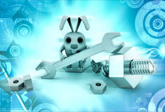 3d rabbit tighting nut concept Royalty Free Stock Photo