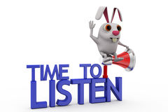 3d rabbit time to listen concept Royalty Free Stock Images