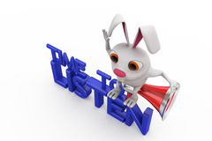 3d rabbit time to listen concept Stock Image