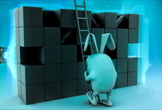 3d rabbit to climb boxes with ladder illustration Stock Photo