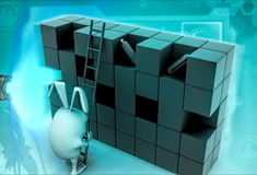 3d rabbit to climb boxes with ladder illustration Royalty Free Stock Photography