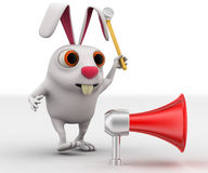 3d rabbit about to hit speaker with hammer concept Stock Photo
