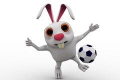 3d rabbit about to kick soccer ball concept Royalty Free Stock Photography