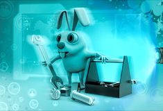 3d rabbit with toolbox illustration Stock Image