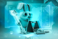 3d rabbit with toolbox illustration Stock Images
