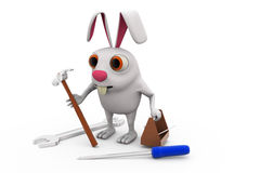 3d rabbit with tools concept Royalty Free Stock Images