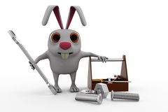 3d rabbit with tools to repairs concept Stock Photo