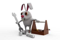 3d rabbit with tools to repairs concept Stock Photos