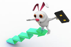 3d rabbit on top of arrow graph with briefcase concept Stock Image