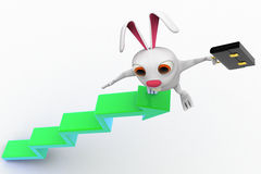 3d rabbit on top of arrow graph with briefcase concept Royalty Free Stock Photo