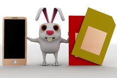 3d rabbit with touch screen smartphone and two sim cards concept Royalty Free Stock Image