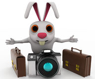 3d rabbit tourist with camera concept Stock Image