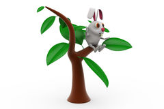 3d rabbit on  tree concept Stock Photography