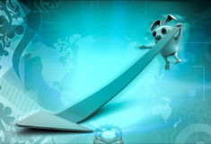 3d rabbit try to catch down falling arrow illustration Stock Images