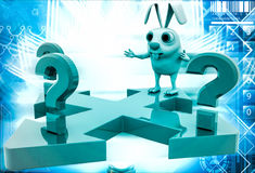 3d rabbit try to find right path from three path with question mark illustration Stock Photo