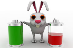 3d rabbit with two battery one fully charged and one about to totally discharge concept Stock Photo