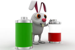 3d rabbit with two battery one fully charged and one about to totally discharge concept Stock Photos