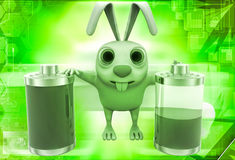 3d rabbit with two battery one fully charged and one about to totally discharge illustration Royalty Free Stock Photos