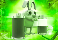 3d rabbit with two battery one fully charged and one about to totally discharge illustration Stock Photo