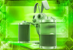 3d rabbit with two battery one fully charged and one about to totally discharge illustration Royalty Free Stock Image