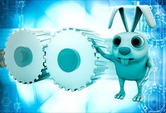 3d rabbit with two cogwheel illustration Stock Photo
