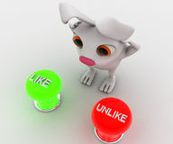 3d rabbit with two like and dislike button concept Royalty Free Stock Image