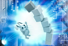 3d rabbit under falling cube building illustration Stock Photo