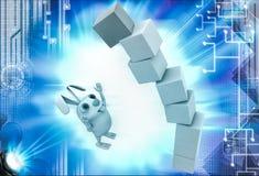 3d rabbit under falling cube building illustration Stock Photo