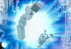 3d rabbit under falling cube building illustration Royalty Free Stock Photo