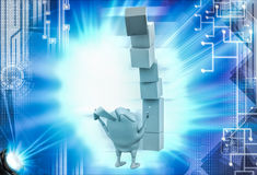 3d rabbit under falling cube building illustration Stock Images