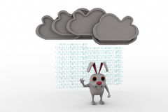 3d rabbit under rain concept Royalty Free Stock Image