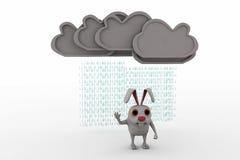 3d rabbit under rain concept Royalty Free Stock Image