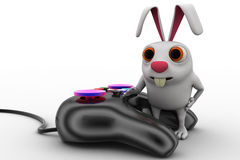 3d rabbit with video game console remote concept Royalty Free Stock Photo