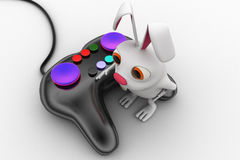 3d rabbit with video game console remote concept Royalty Free Stock Image