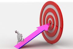 3d rabbit walking on arrow towards target board concept Stock Image