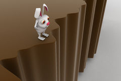 3d rabbit want go other side concept Royalty Free Stock Photos