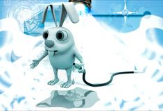3d rabbit with water pipe illustration Royalty Free Stock Photo